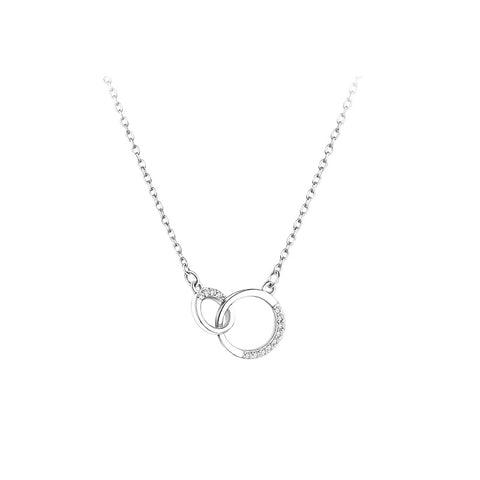 Interlocking Sterling Silver Diamond Necklace