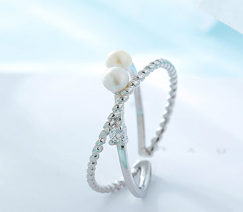 """No Ending"" Sterling Silver Pearl Ring"
