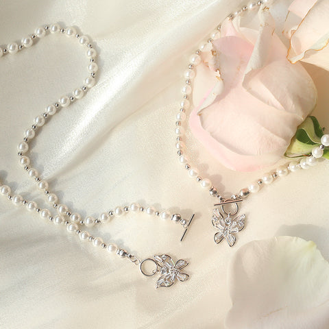 """Dreamy"" Butterfly Pearl Choker Necklace"