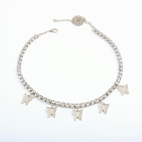 Rhinestone Muti Butterfly Bling Choker Necklace