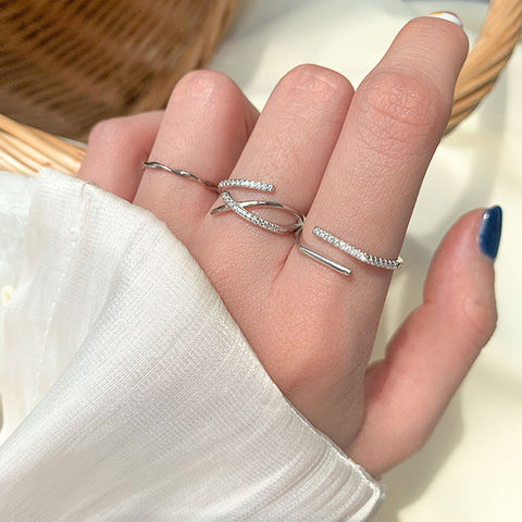 """Parallel Cross Lines"" Sterling Silver Diamond Ring"