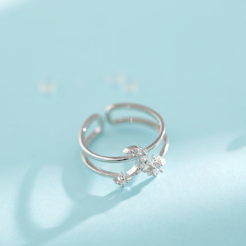 """""""Time will Answer"""" Sterling Silver Star Moon Ring"""