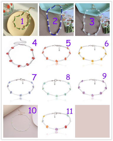 Colorful Fresh Flower Bead Necklace