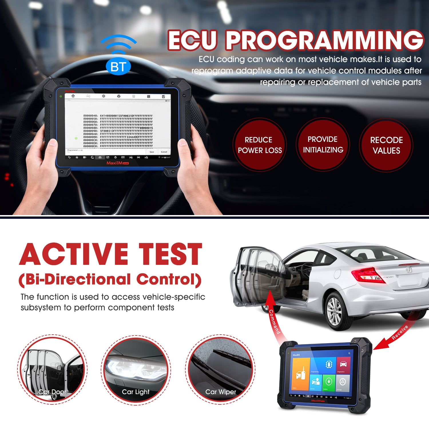 The ECU programming of the IM608 diagnostic tool can be used on most cars