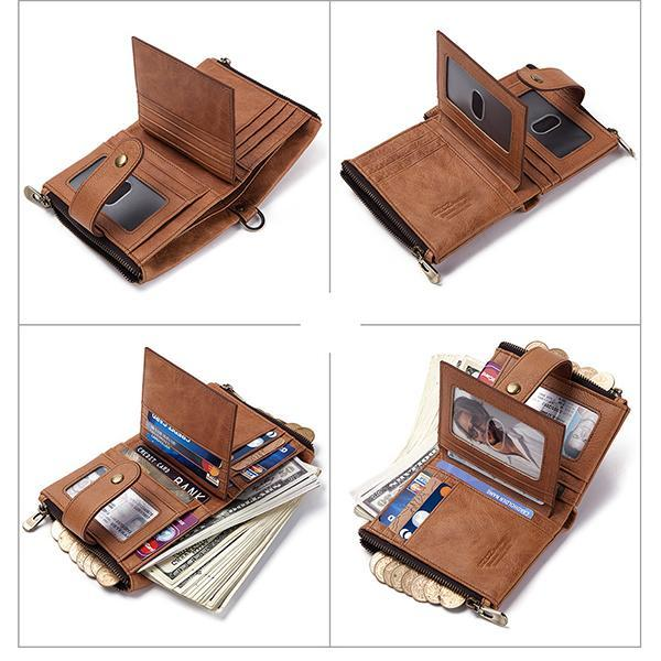 GenuineLeather RFID Anti-theft Retro Wallet With Chain