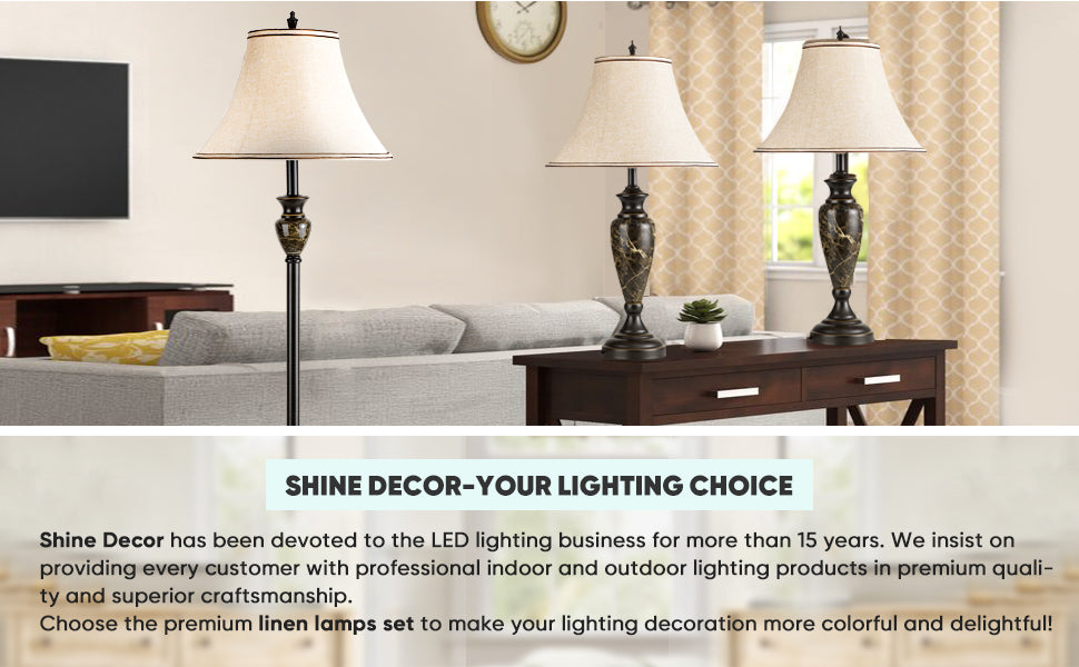 Shine Decor lamp set of 3- table lamps floor lamp