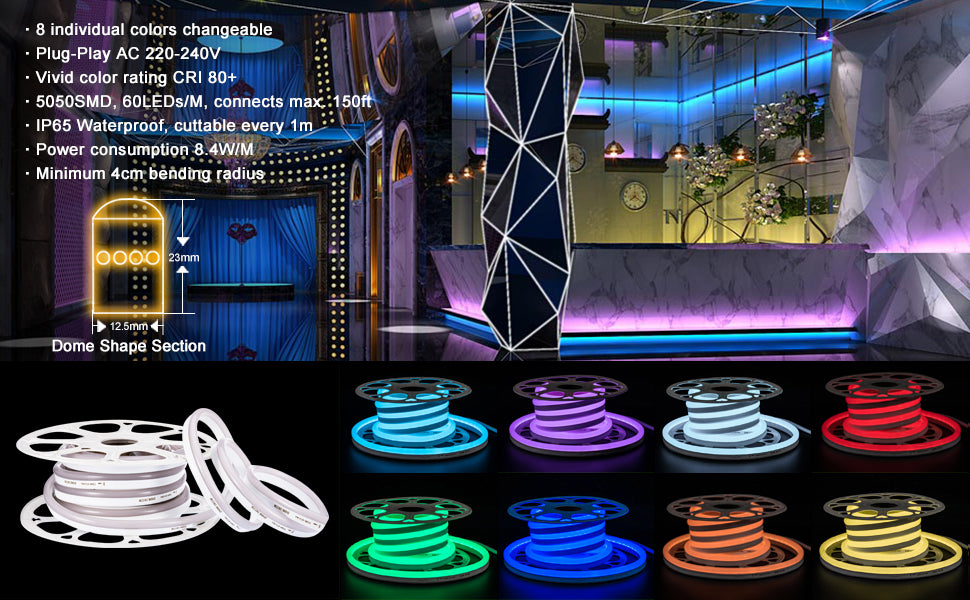 dimmable high brightness cuttable warm white led neon rope light