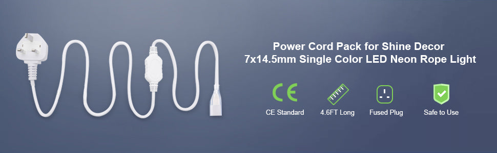 power cord pack for shine decor 7x14.5mm single color led neon rope light