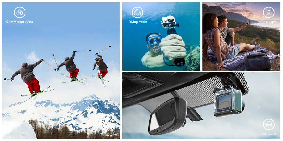 5 Reasons the COOAU-SPC03 Action Camera is the best for Beginners;  Multiple functions like hiking, time lapse, diving mode, slow motion mode,  and can be used as dash cam as well.