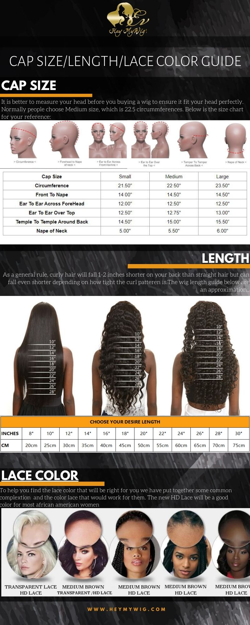 Lace wig cap size head size measurement method wig length inches to cm gudie lace color with matching skin guide heymywig.com