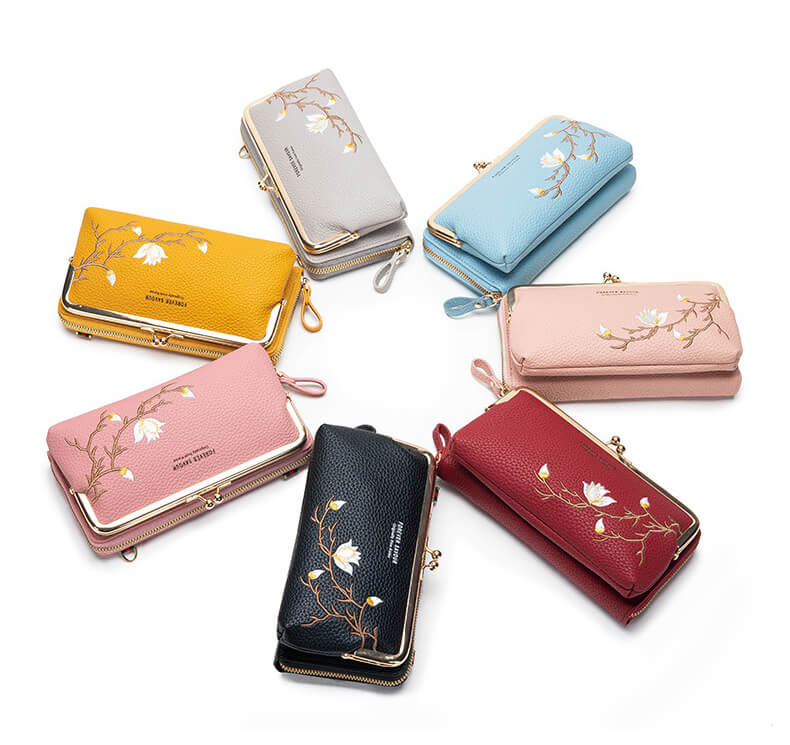 Kiss Lock Phone Bag Cell Phone Wallet black pink red blue yellow gray