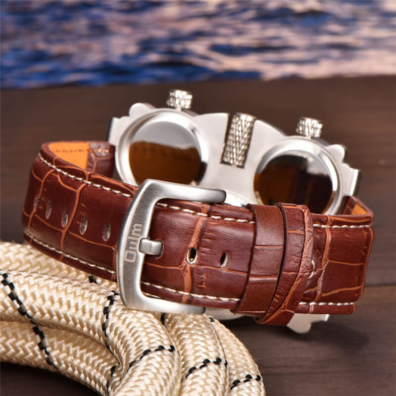 3 Time Zone Watch Brown Strap