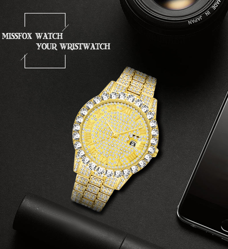 luxury iced out quartz watches