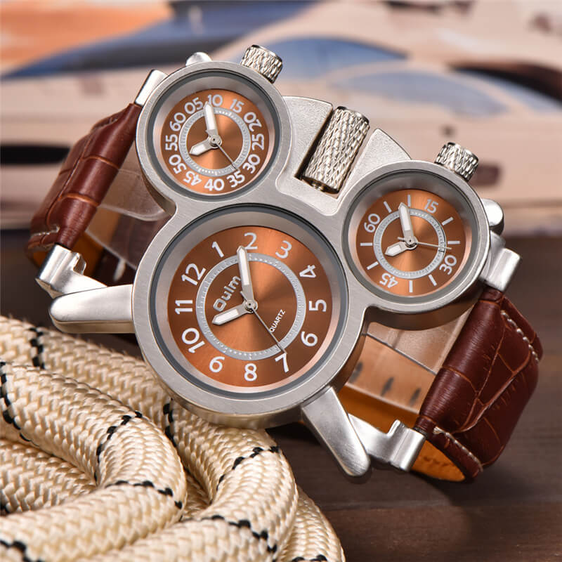 3 time zone watch for men