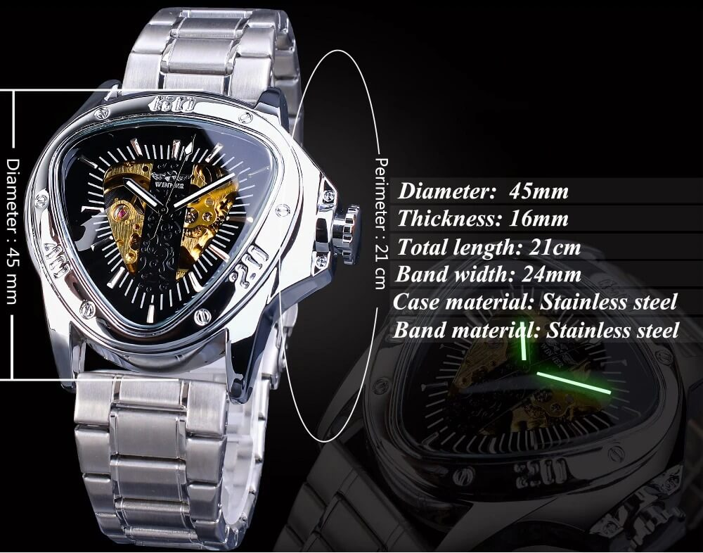 Silver Stainless Steel Mechanical Watch detail1