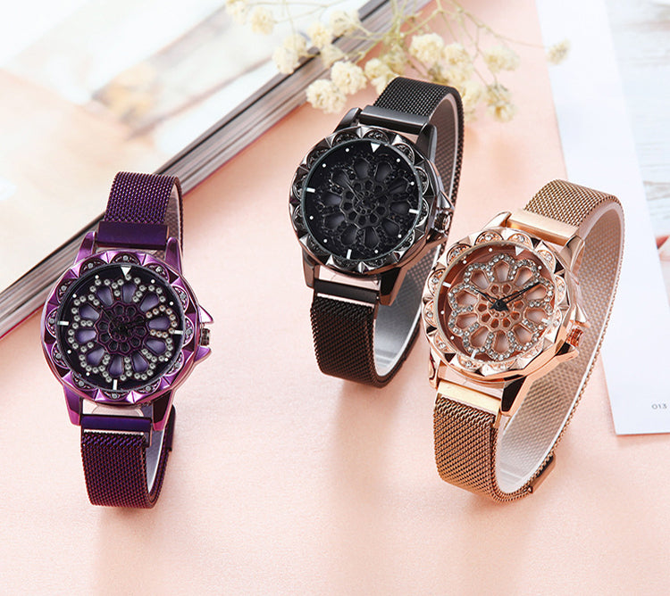 Rotating rhinestone watch-aolanscctv