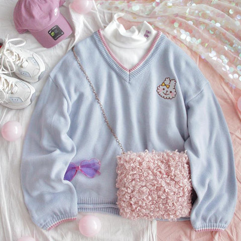 Rabbit Blue V-neck Sweater