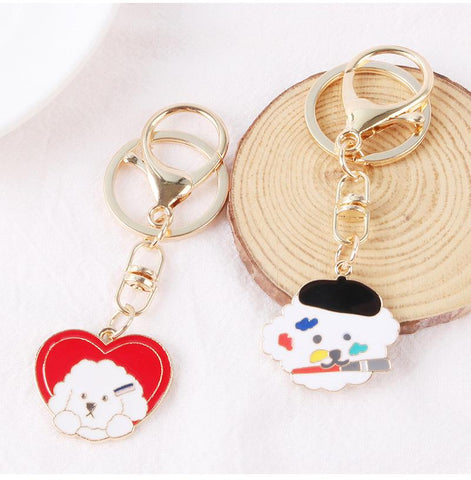 Girly Heart Artist Dog Keychain