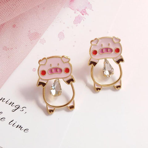 Cute Pink Pig Earrings