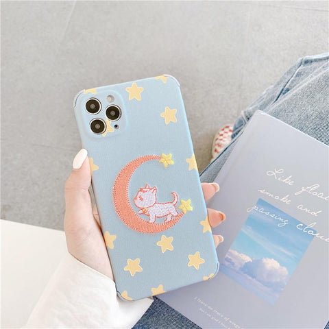 Embroidery Cat Phone Case
