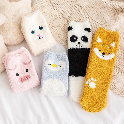 Soft Animals Floor Socks