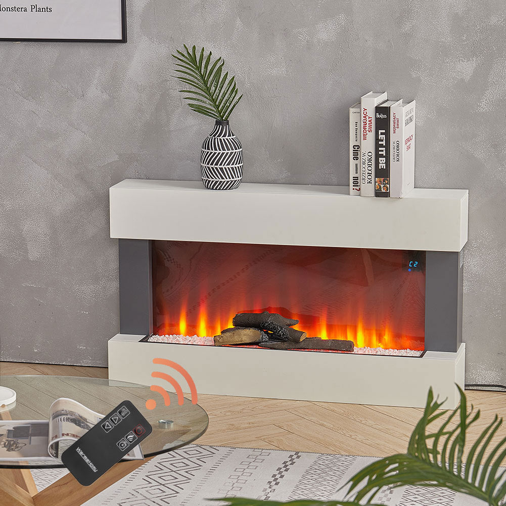 Electric Fireplace with LED Fire Flame Wall Mounted WI-FI Surround Mantel Heater