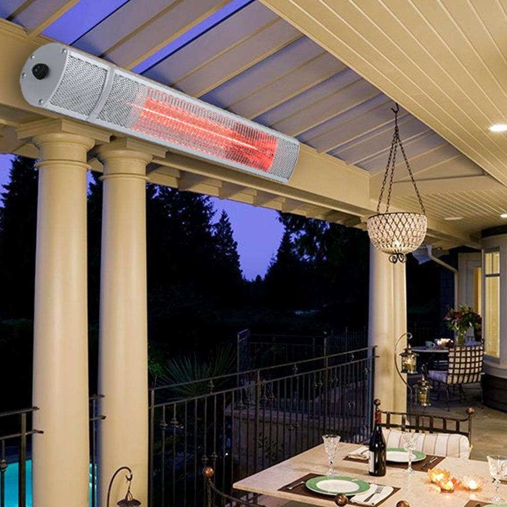 Electric Garden Patio Heater Outdoor Wall Mounted Halogen Tube 3 Levels Heater