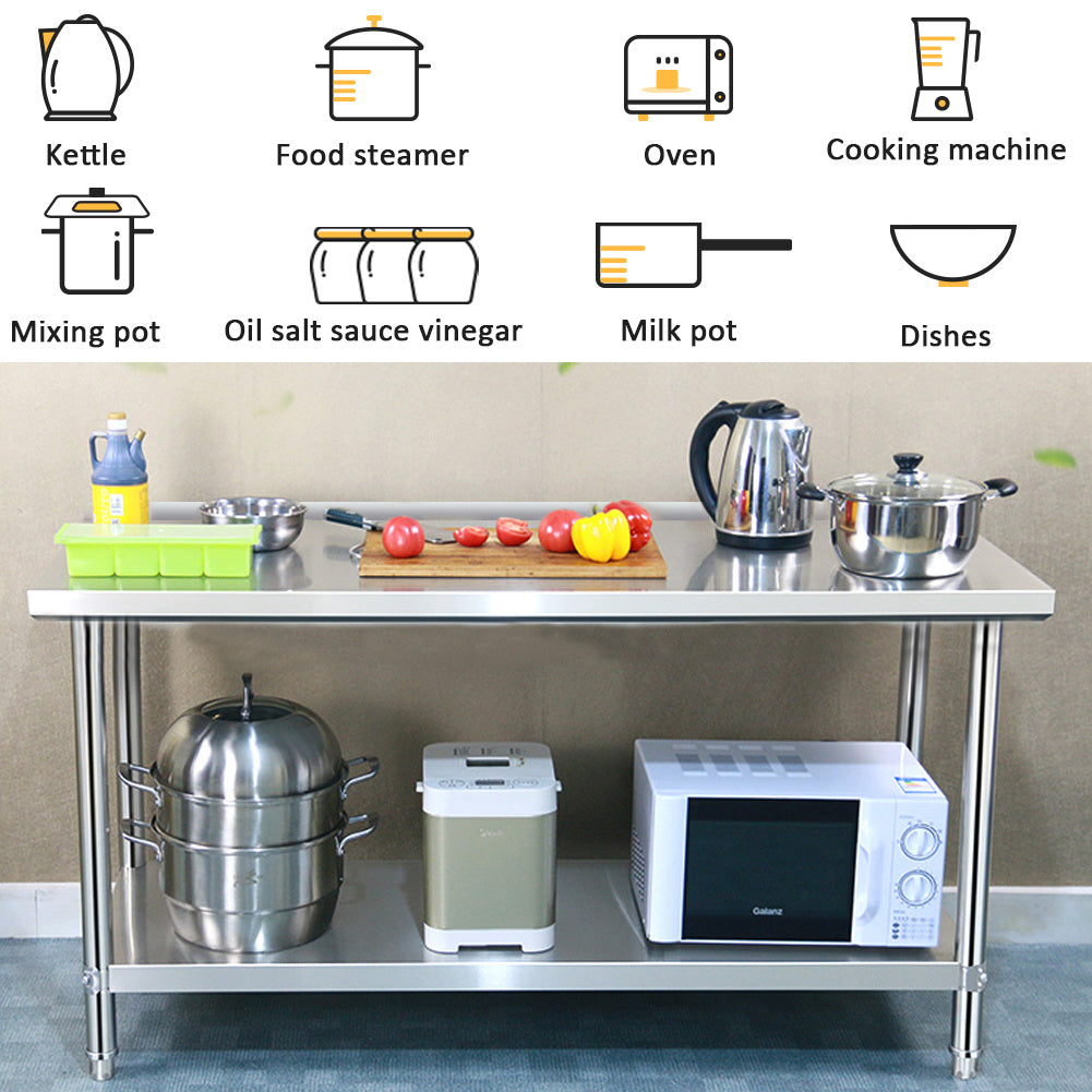 2 Tier Stainless Steel Commercial Catering Prep Table Work Bench Kitchen Worktop