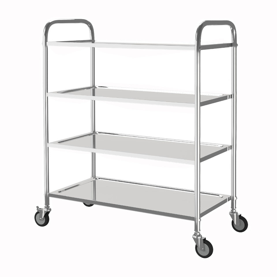 4Tier Stainless Steel Kitchen Catering StorageTrolley Serving Carts