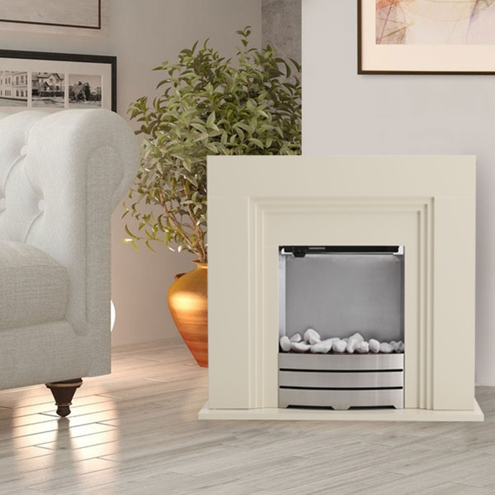 Electric LED Fireplace Fire Free Standing Surround Flame Pebble Heater