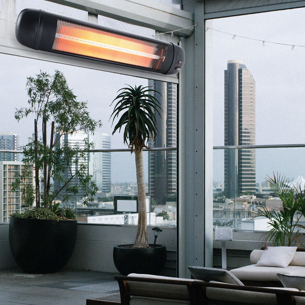 Electric Wall Mounted Patio Heater 3 Level Heating Warmer Remote Indoor Outdoor