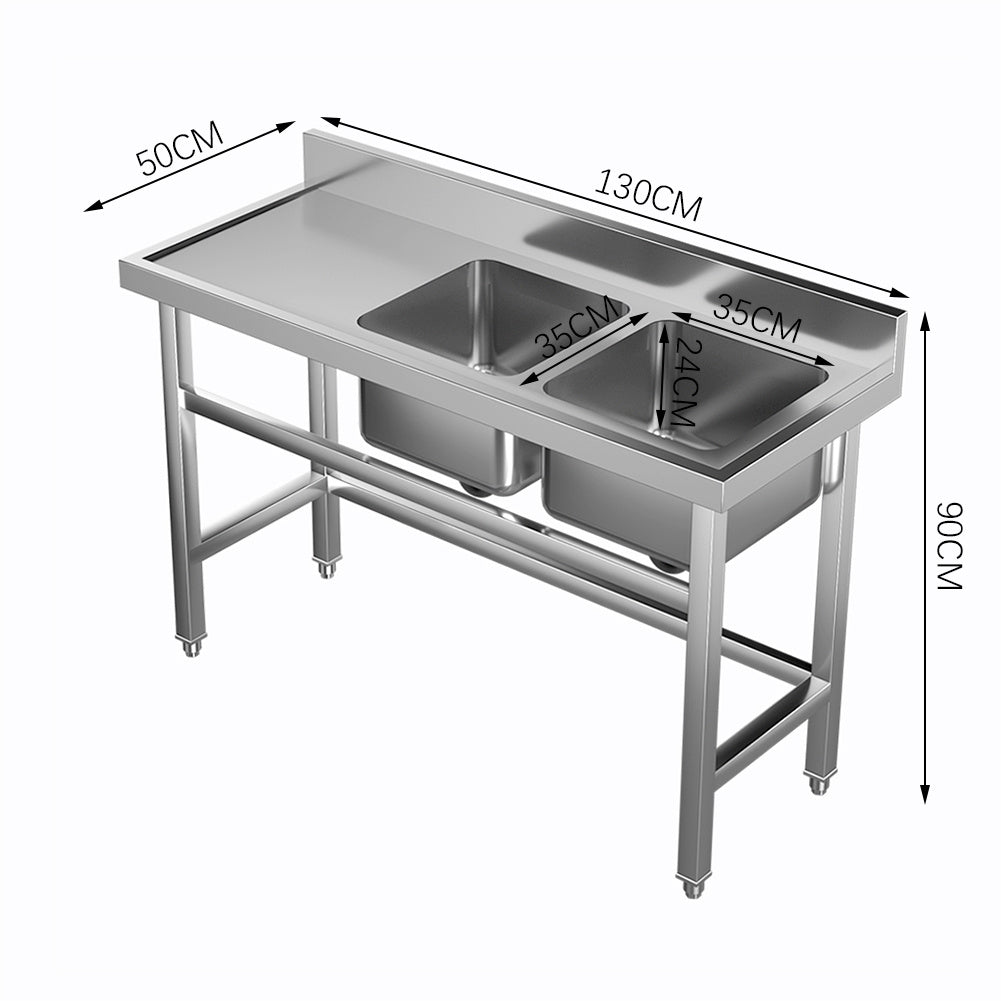 Stainless Steel Sink Catering Kitchen Commercial Double Bowl Left Drainer