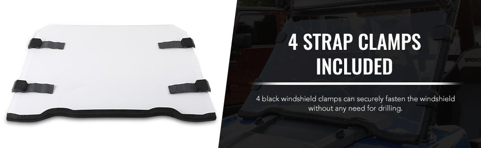 4 Strap Clamps Included Windshield