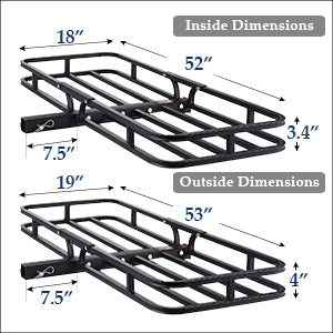 Hitch Mount Steel Cargo Carrier Dimensions