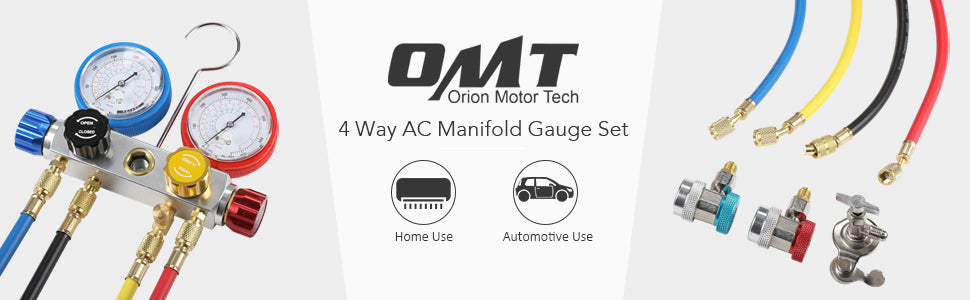 OMT 4 Way AC Manifold Gauge Set