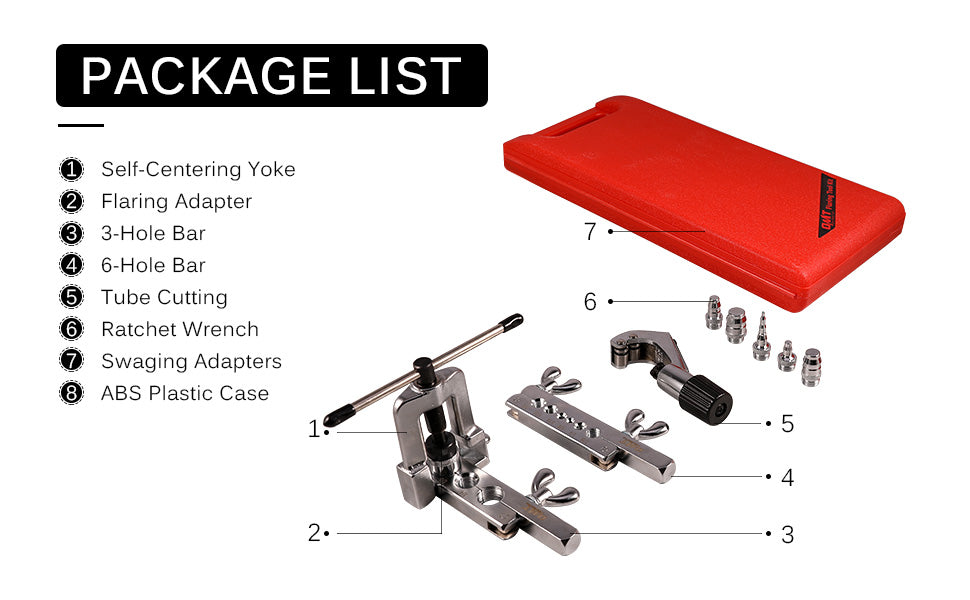 Professional Single Flaring Tool and Swaging Tool Kit