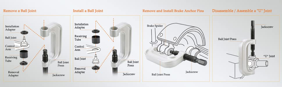 how to use ball joint remover tool set