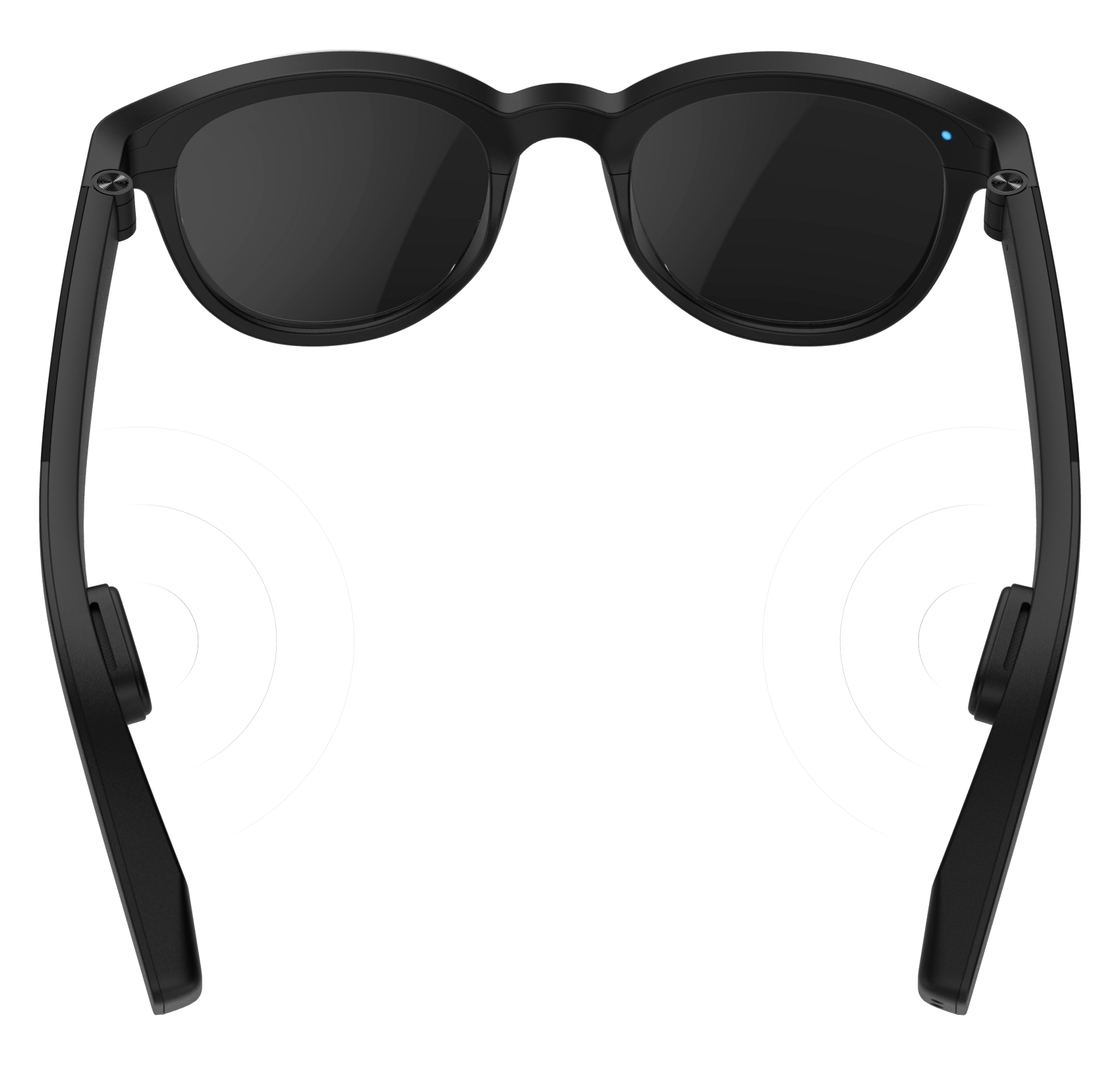Vue Pro Classic with sound waves coming out of the two bone conduction pads on the legs of the glasses