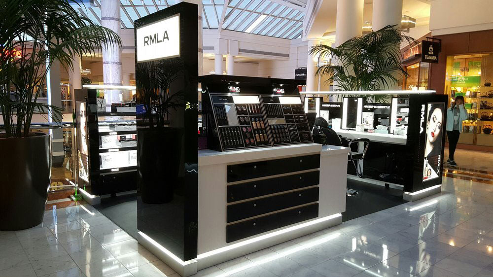 Photo of makeup mall kiosk completed on-site installation