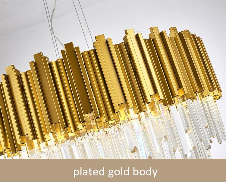 American luxury hotel lobby LED round crystal chandelier-plated gold body