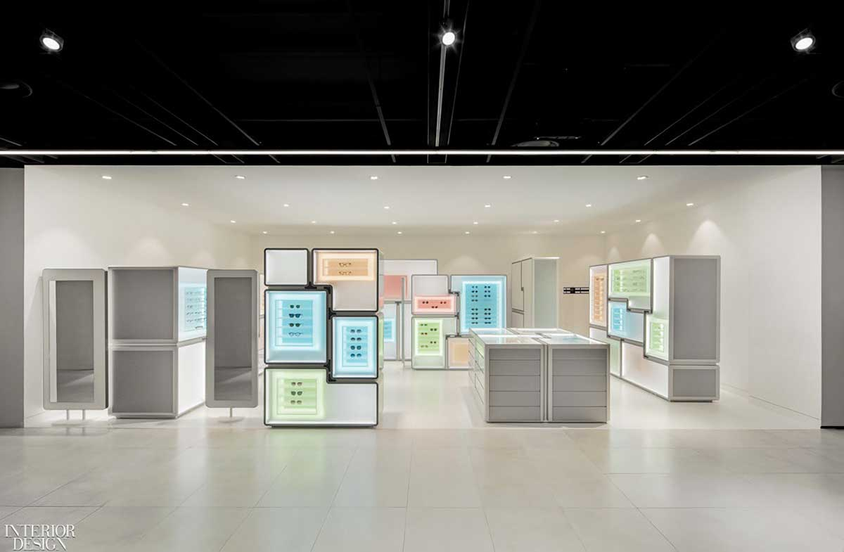 Modular display cases define the layout of Papyrus's newest store outside of Seoul, South Korea