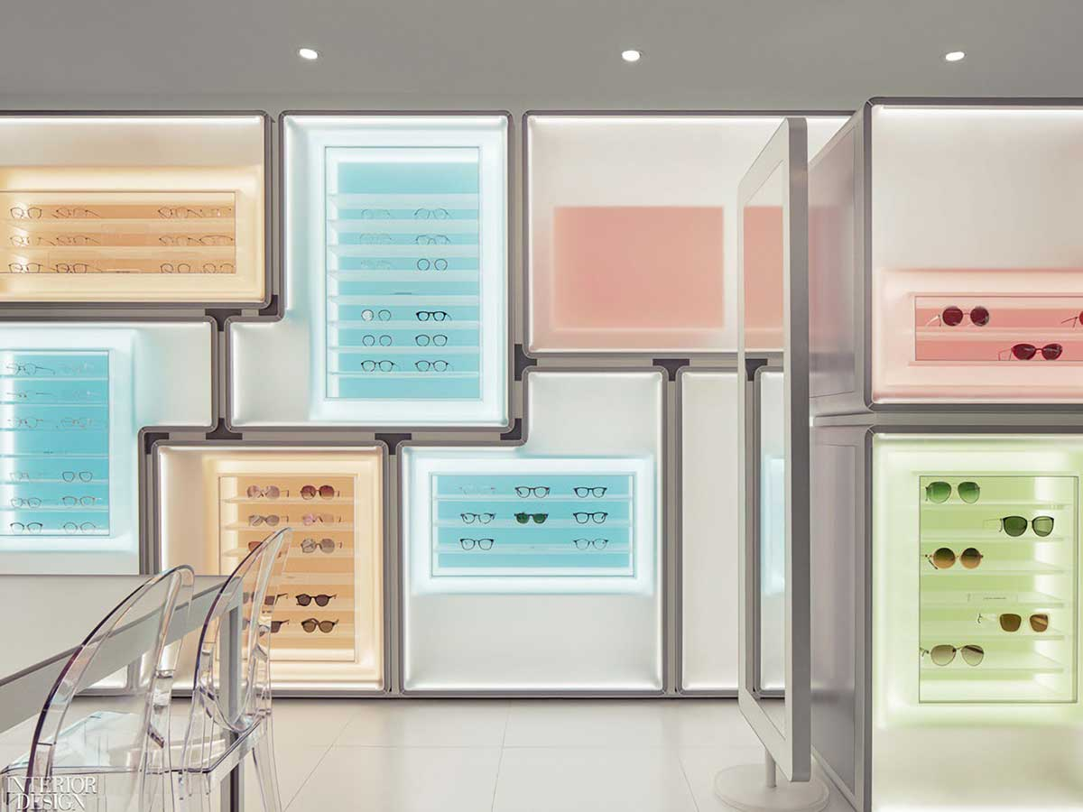 The colored display cases ensure customers' eyes are drawn to the glasses