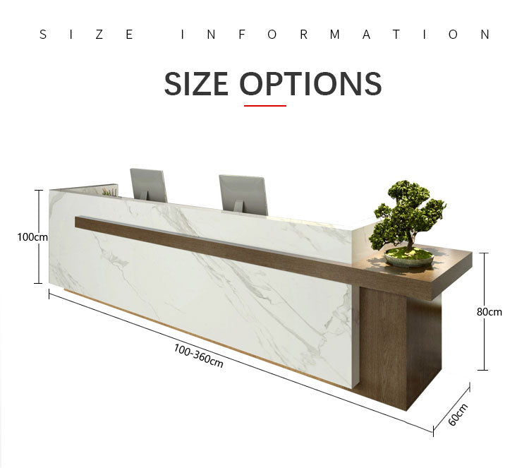 reception counter sizes