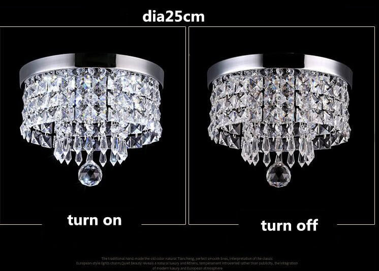 Channel aisle crystal chandelier Diameter 25cm Switch lights comparison