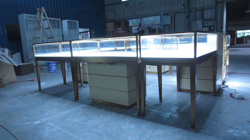 Customized 3x3m or 3x2m Gold Glass Display Counter Jewerly Mall Kiosk with Movable Cabinets