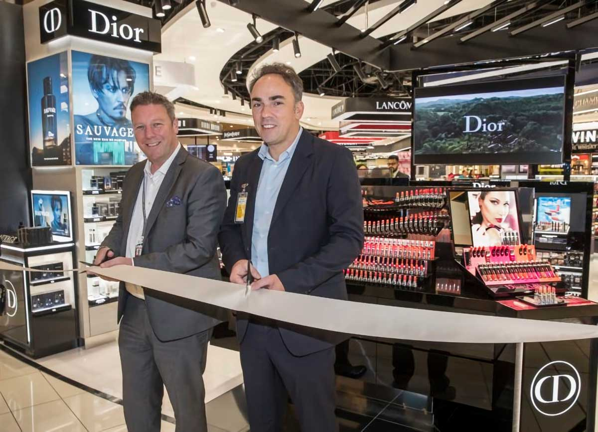 Dior Senior Vice President of Travel Retail Olivier Dubos (right) and The Loop Duty Free New Zealand General Manager Tom Byrne officially open the new Dior display