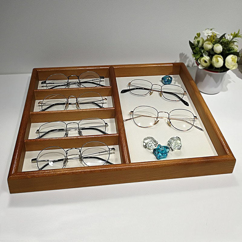 Exquisite teak flannel double display tray-application display