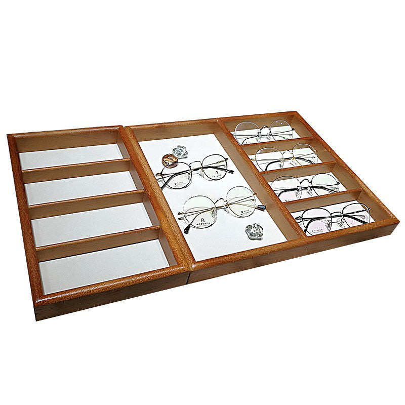 Exquisite teak flannel double display tray + four-compartment tray