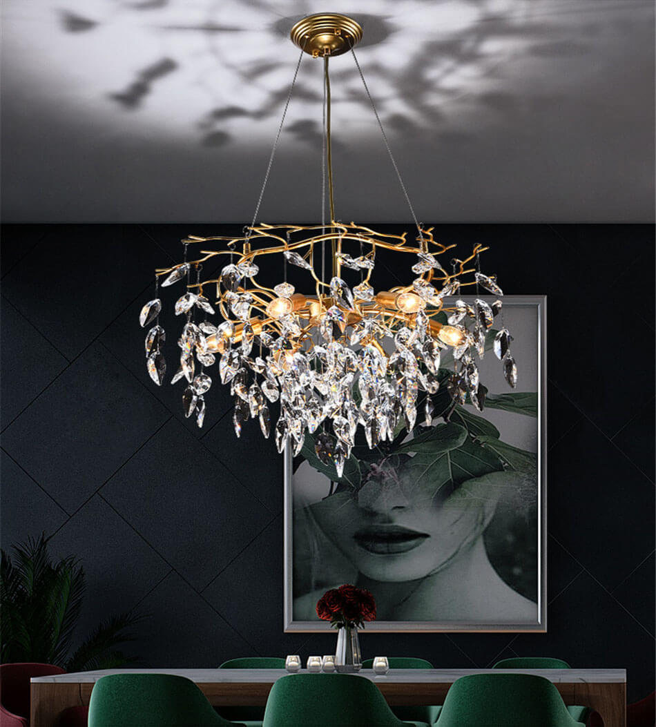 French style light luxury creative crystal chandelier for living room 6 Head Scene application diagram
