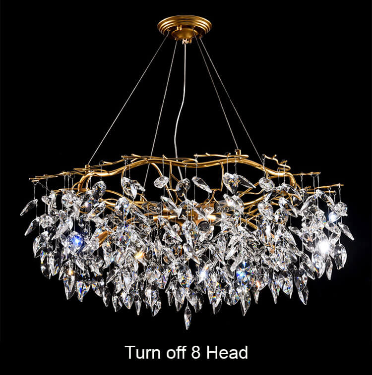 French style light luxury creative crystal chandelier for living room Turn off